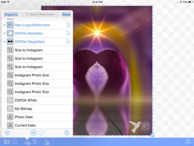 Adding my logo/watermark, metadata and Stegomark in iWatermark+